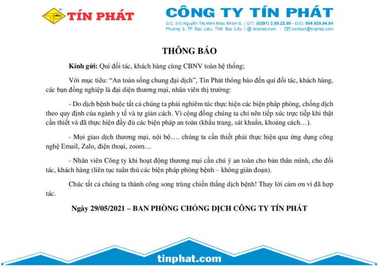 [THÔNG BÁO] - PHÒNG CHỐNG DỊCH COVID